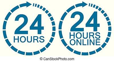 24 twenty four hour clock online service logo vector 24...