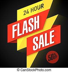 24 uur, flits, verkoop, spandoek