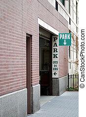 24 uur, garage, het teken van het parkeren