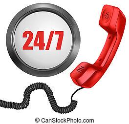 24, vecka, 24/7, stöd, button., dagar, timmar, dag, vektor, 7, telefon, concept.