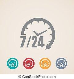 24, vecka, ikonen, dagar, timmar, 7, öppna, dag