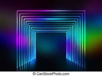 2409, 効果, デザイン, ネオン, 抽象的, トンネル
