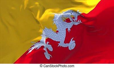 241. Bhutan Flag Waving in Wind Continuous Seamless Loop...