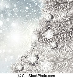 2411, boompje, zilver, achtergrond, kerstmis