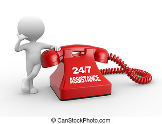 24/7 Assistance - 3d people - man, person and phone. ...