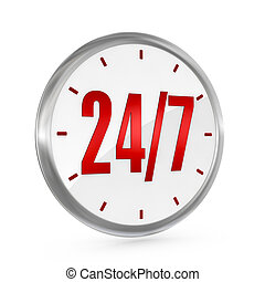 24/7 availability - one clock with the numbers 24 and 7 on...