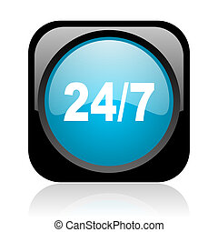 24/7 black and blue square web glossy icon