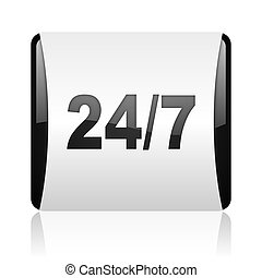 24/7 black and white square web glossy icon