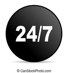 24/7 black circle web glossy icon