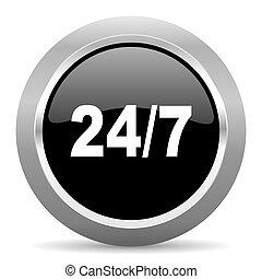 24/7 black metallic chrome web circle glossy icon