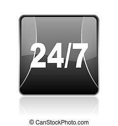 24/7 black square web glossy icon
