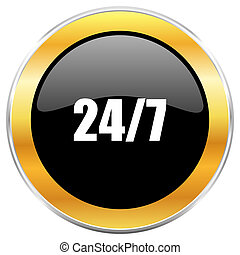 24/7 black web icon with golden border isolated on white background. Round glossy button.