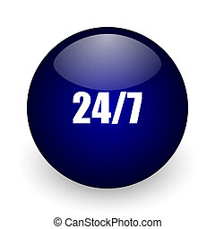 24/7 blue glossy ball web icon on white background. Round 3d render button.