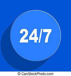 24/7 blue web flat icon