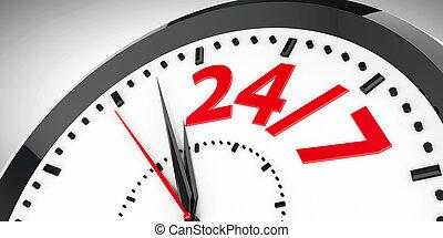 24/7, cadran, horloge