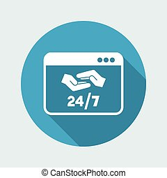 24/7 computer support - Vector flat icon