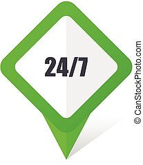 24/7 green square pointer vector icon in eps 10 on white background with shadow.