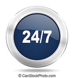 24/7 icon, dark blue round metallic internet button, web and mobile app illustration