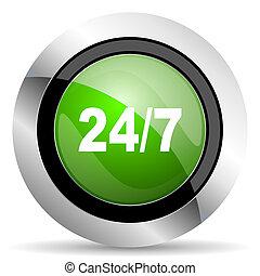 24/7 icon, green button