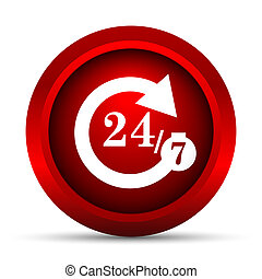 24/7 icon. Internet button on white background.