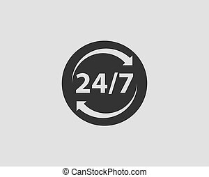 24/7 icon vector. 24 hour service clock.