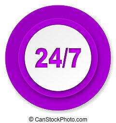 24/7 icon, violet button