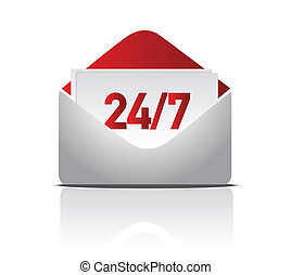 24/7, livraison, illustration, courrier