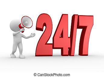 24/7, megaphone., 3d, uomo