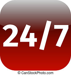 24/7 nonstop time red icon for web or phone app