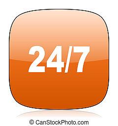 24/7 orange square web design glossy icon