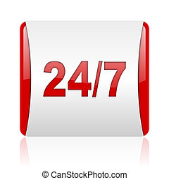 24/7 red and white square web glossy icon