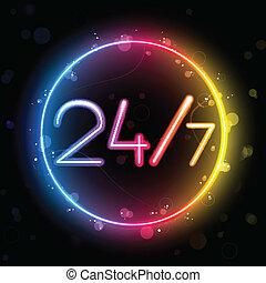 24/7, regnbåge, cirkel, neon