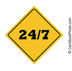 24/7 roadsign in yellow diamond isolated on white...