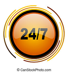 24/7 round design orange glossy web icon