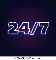 24/7 round hour open neon sign with glowing lights