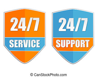 24/7 service and support, two orange blue labels, flat design, business attendance concept