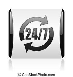 24/7 service black and white square web glossy icon