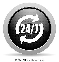 24/7 service black circle web glossy icon