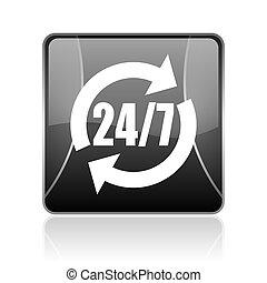 24/7 service black square web glossy icon