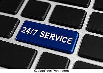 24/7 service button on keyboard - 24/7 service blue button...