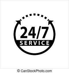 24/7, service, icône