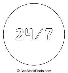 24/7 service icon black color in circle or round vector...