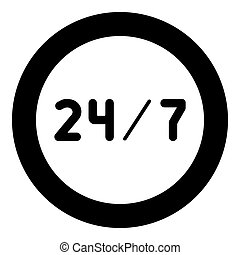24/7 service icon black color in circle or round vector...