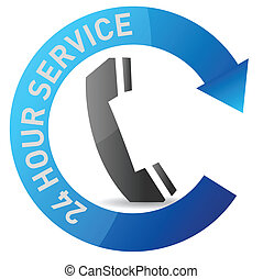 24/7 service illustration design