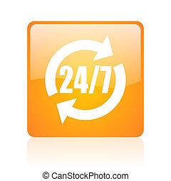 24/7 service orange square glossy web icon