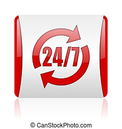 24/7 service red and white square web glossy icon
