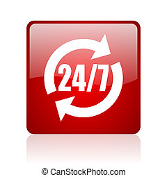 24/7 service red square glossy web icon on white background