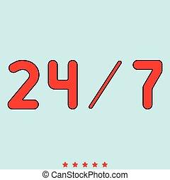 24/7, servicio, él, es, icono, .