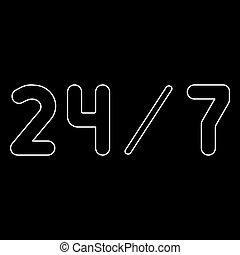 24/7, servicio, el, blanco, trayectoria, icono, .