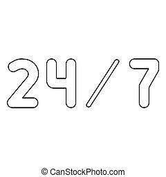 24/7, servicio, el, negro, color, icono, .